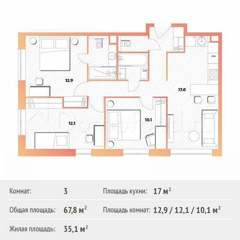 Квартира 3-комн. квартира, 67.8 м², 5/13 эт. Москва